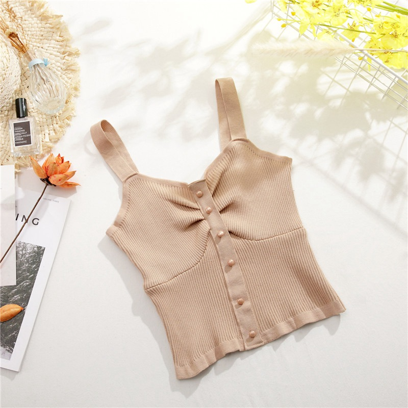 Strap Knit Wrap Chest Crop Tops Sexy Camis Summer Women Sleeveless Candy Colors Sweet Vest Strapless Camisole Button Camis Tops