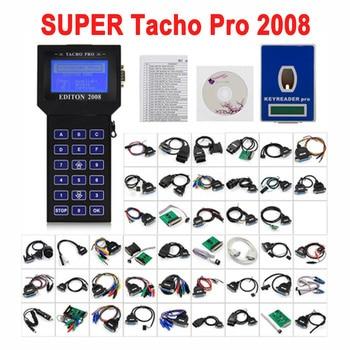 Newest Tacho Pro 2008 Unlock Version Main Unit Mileage Adjuster Full Cable EEPROM  Programming V2008 July Car Odmeter Reset Tool