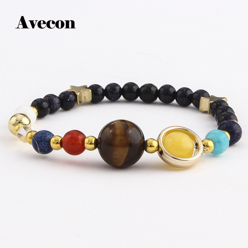 Universe Galaxy the Eight Planets Solar System Guardian Star Natural Stone Beads Bracelet Bangle for Women Men Gift