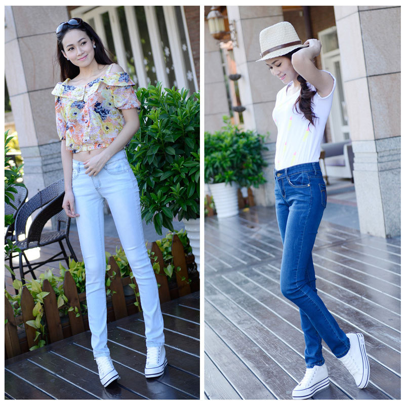 Free Shipping Form Fitting Women S Jeans Skyinny Denim Pencil Pants Skinny Flirty Light Blue Clothing For Female Size 26 32 Clothing Blank Clothing Sayingsclothing Trade Aliexpress