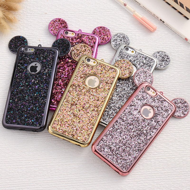 3D Luxury Cartoon <font><b>Mouse</b></font> Pattern Ears Soft TPU <font><b>Case</b></font> For Samsung Galaxy S6 S7 Edge S8 S9 Plus Bling Glitter Cover Phone Bags Coque image