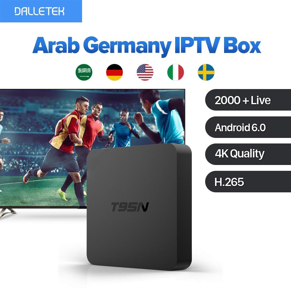 T95N Europe Arab Germany IPTV Box Android 6.0 Smart TV Box Amlogic S905X Quad Core 4K H.265 with Free 1 Year IPTV Subscription