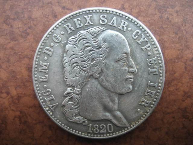 1820 SERIKAT ITALIA 5 Lire koin salinan