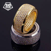 40d446e11c4c Bling Iced Out Hip Hop CZ Finger Ring Gold Filled Or Silver Plated Copper  Micro Paved