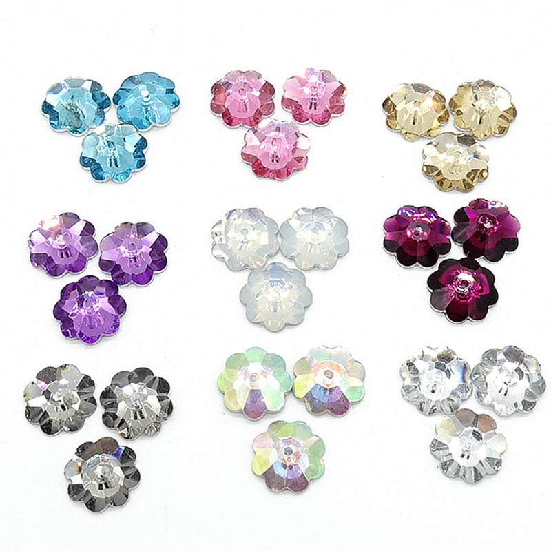 Commercio all'ingrosso 100pcs Sew On Resin Rhinestones Plum bottoni di fiori perline fai da te 10mm