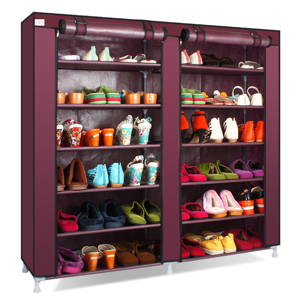 Double row 12 grid Shoe rack Wine Red Non-woven organizer storage cabinet Assembly shelf Shoe cabinet home living room Furniture double row 12 grid shoe rack wine red non woven organizer storage cabinet assembly shelf shoe cabinet home living room furniture