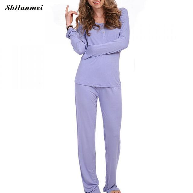 0f8b8ea4e97f 2018 Women Pajamas Sets Cotton Nightwear Spring Autumn Purple Long Sleeve  Pyjamas O-Neck botton Sleepwear Female Pijamas Mujer