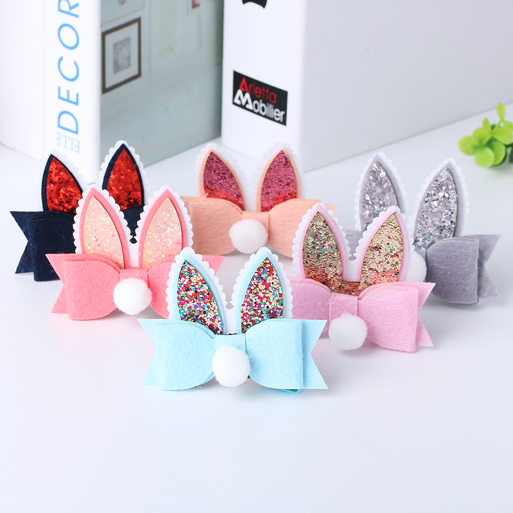 Hot Sale!!1 PC Fashion Cute Girl Rabbit Ears kids Hairpins Children Headwear Girls Baby Spring Party Hair Clips Hair Accessories baby cute style children accessories hairpins rabbit fur ear kids girls barrette lovely hair clip
