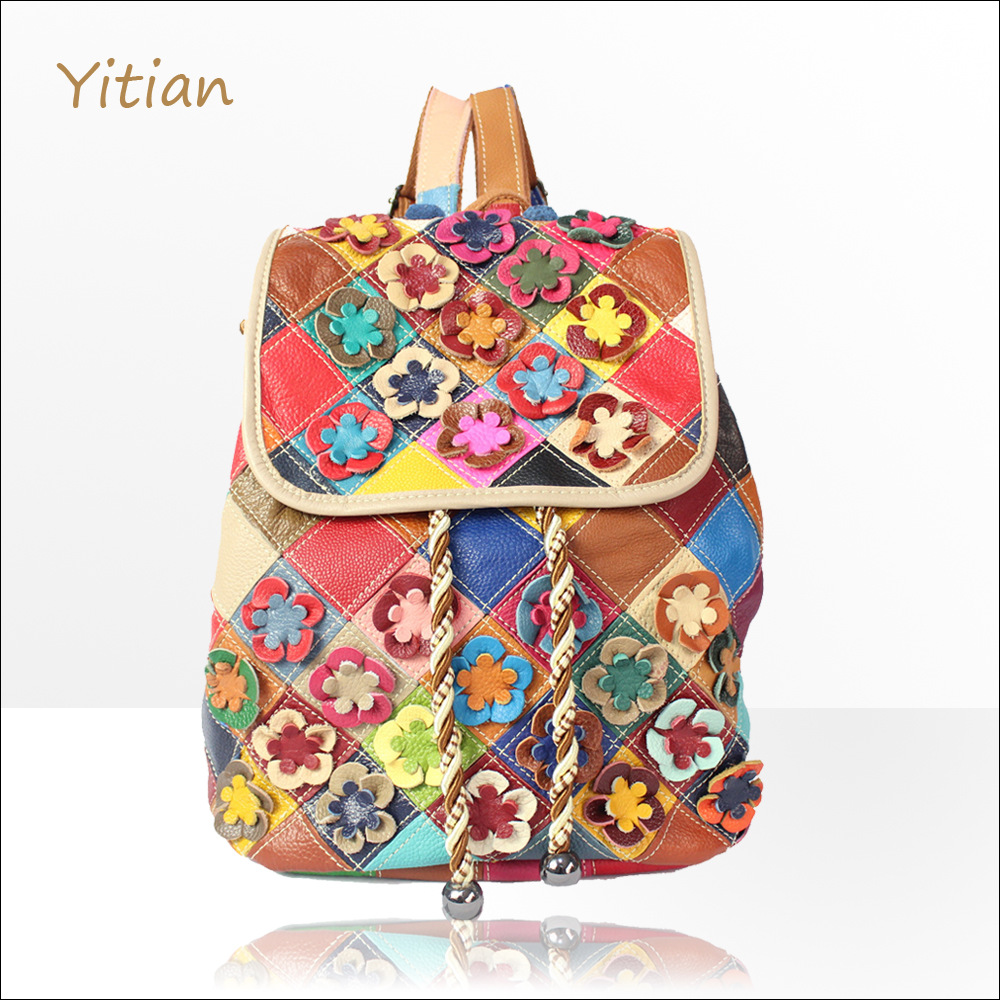 female bag color matching flower head layer cowhide han edition college wind leather backpack backpack bags agent