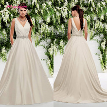 Pleat Soft Satin Wedding Dress backless with Court Train
