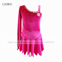 Figure Skating Dress Women's Girls' Ice Skating Dress A variety of colors can be selected Single side long sleeve Shoulder strap(China)