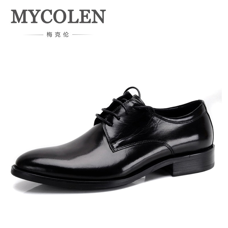 MYCOLEN Wedding Men Dress Shoes Breathable Genuine Leather Round Toe Business Formal Male Shoes Elegant Mens Classic Shoes mycolen mens shoes round toe dress glossy wedding shoes patent leather luxury brand oxfords shoes black business footwear