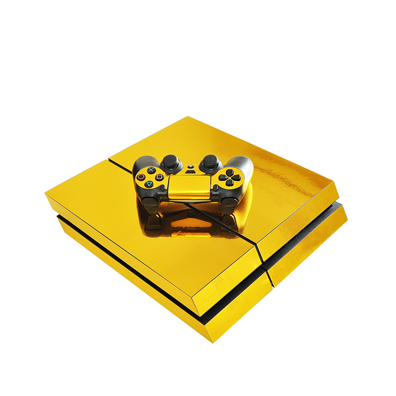 HOMEREALLY Chrome Gold Custom PS4 Vinyl Sticker Full Cover For Sony Plsaystation 4 Console and 2 Controller PS4 Game Accessories-in Stickers from Consumer Electronics