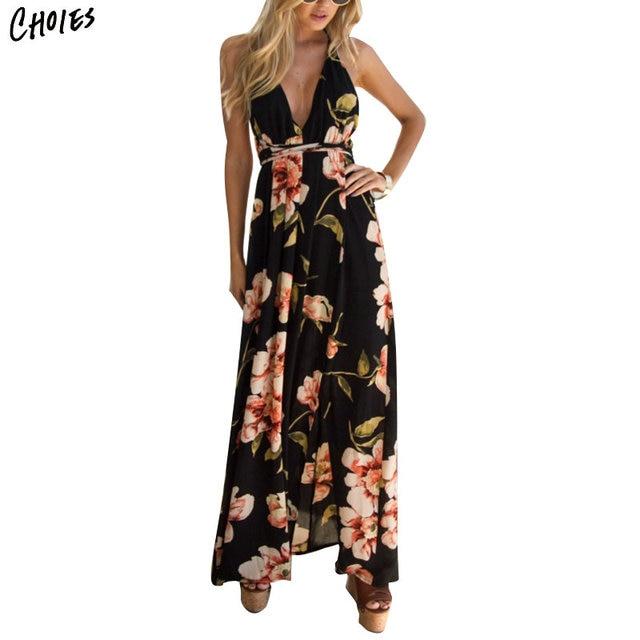 e93a60474 Sexy Com Decote Em V Floral Impressão Coxa Dividir Backless Maxi Vestido  Mulheres 2018 Vestidos Sem