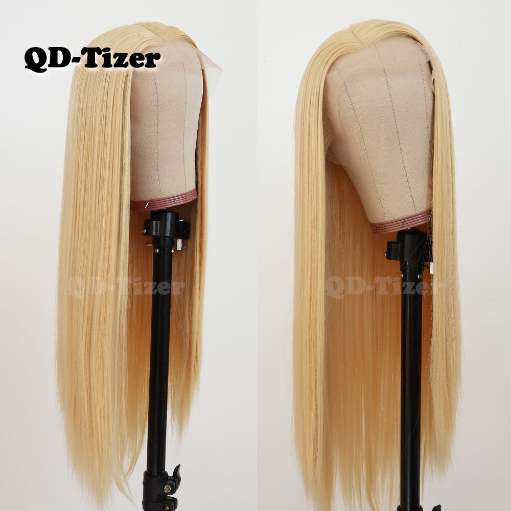 Image 3 - QD Tizer Hair Long Straight Hair #613 Color Lace Hair Glueless Heat Resistant Synthetic Lace Front Wigs for Black Women-in Synthetic Lace Wigs from Hair Extensions & Wigs