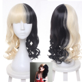 Melanie Martinez Wig Half Blonde And Black Culy Medium Long Cosplay Wigs Women's Halloween Party Wigs Heat Resistance Hair