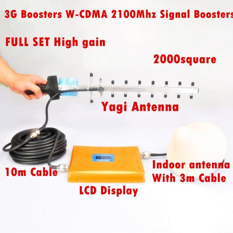 Ensemble complet LED affichage 3G répéteur 2100 MHz W-CDMA UMTS répétidor 3G antenne Signal amplificateur 2G 3G téléphone portable Booster ensembles