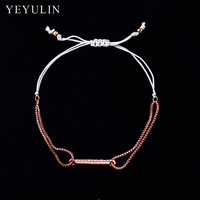 Trendy Silver Gold Color Alloy Rhinestone Letter I Charms Lucky Bracelet Rope Chain For Women Bangles Jewelry