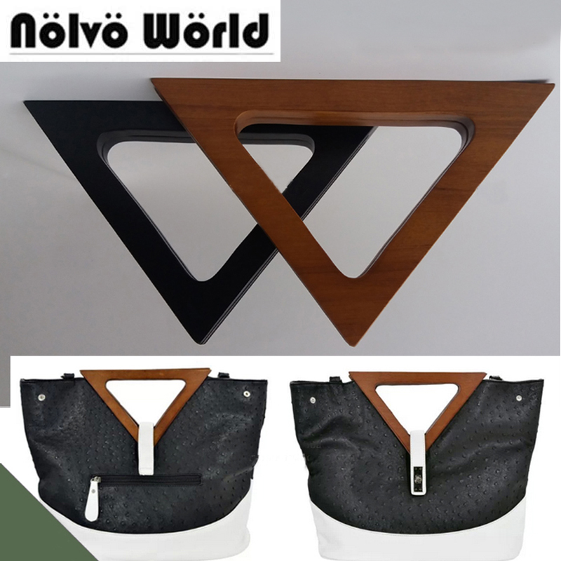 2 Pairs=4 Pieces,2 Colors 24X15.5cm Triangle Wood Handle,Triangle Nature Wooden Purse Handle For Retro-inspired Bags