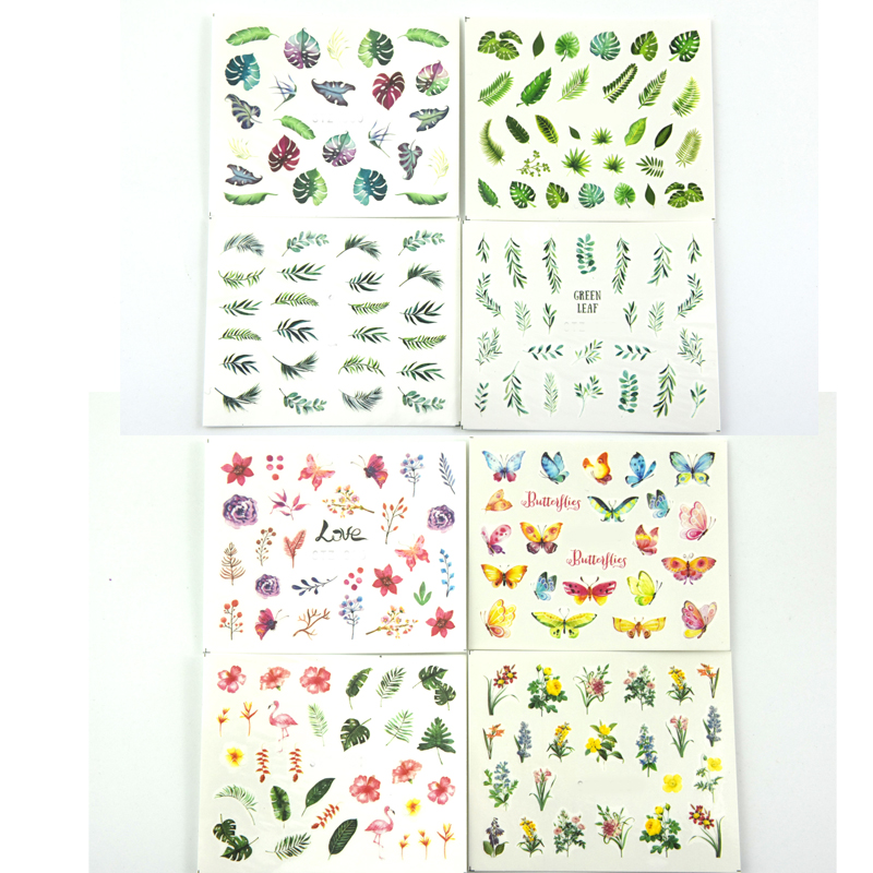 Image 4 - 29Sheets Tropical Leaves Nail Water Decals Botanical Leaf Nail Stickers Butterfly Flowers Nail Art Transfer Sticker Decals-in Stickers & Decals from Beauty & Health