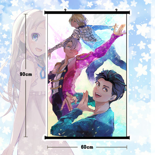 Аниме плакат Юрий! На льду стеной Выделите Фреска Домашний Декор Рождественский подарок 80x60 см