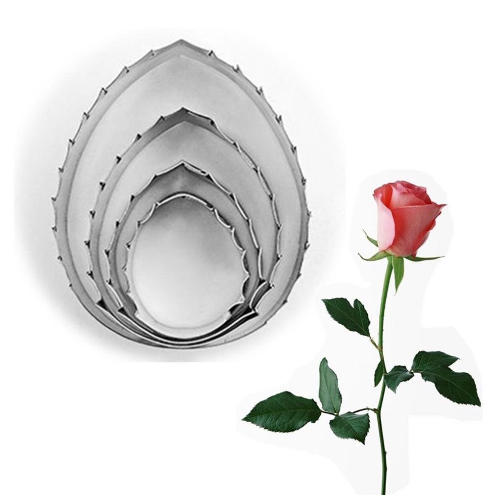 4Pcs Practical Home Kitchen Rose Leaf Shaped Cookie Cutter Fondant Tool Stainless Steel Metal Mold Cake Decorating Mould
