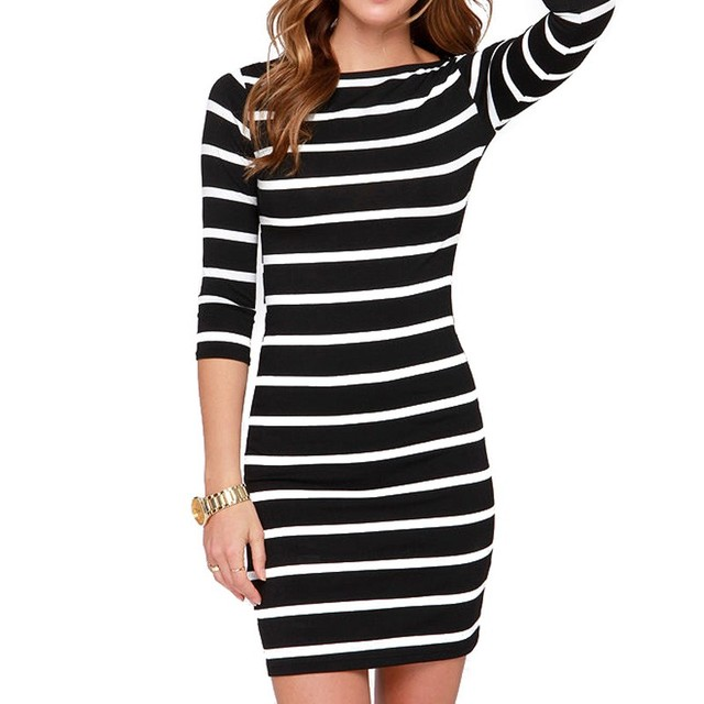 black and white stripes long sleeves Slim plus size casual dress