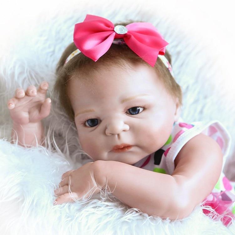 NPK Boneca Reborn 19 inch 46cm full Silicone Vinyl body baby Dolls Reborn Bebe Realista Fashion Doll Newborn Lifelike Bebe