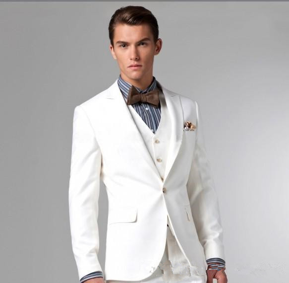 American Style White Color Custom Tuxedo Groomsmen Wedding Suits