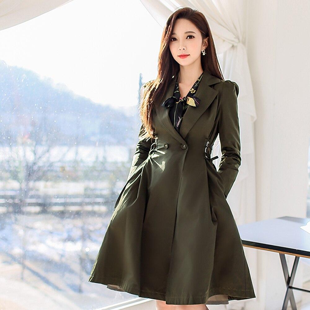Dabuwawa Women Army Green Long Elegant Trench Coat Slim lace up Casual Swing Dress Windbreaker Outwear