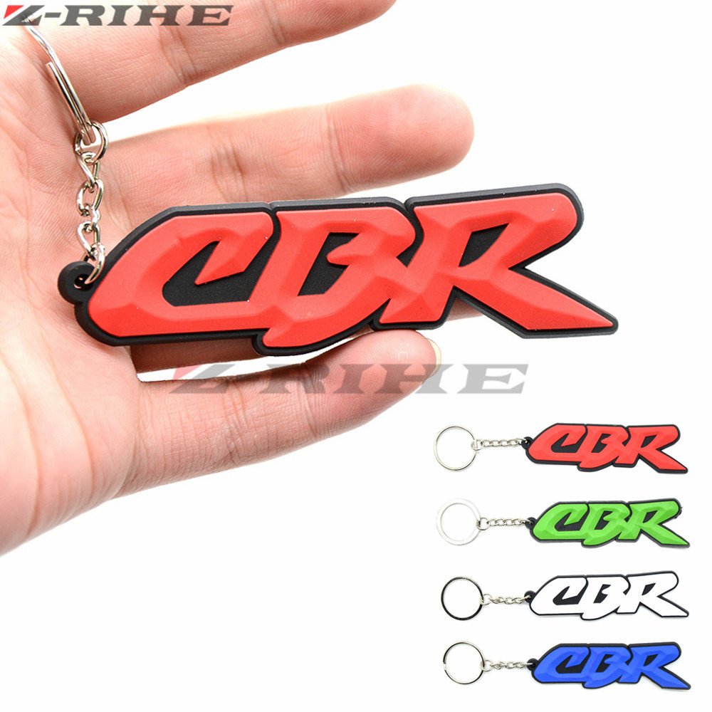 3D Motorbike Key Ring White Motorcycle Accessories Key Chain Rubber Keychain For Honda CBR 600 RR CBR 1000 RR 900 919 954 Cbr