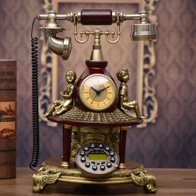 The new European style villa telephone are Vintage American childhood antique telephone telephone angel ringing tones home Dial