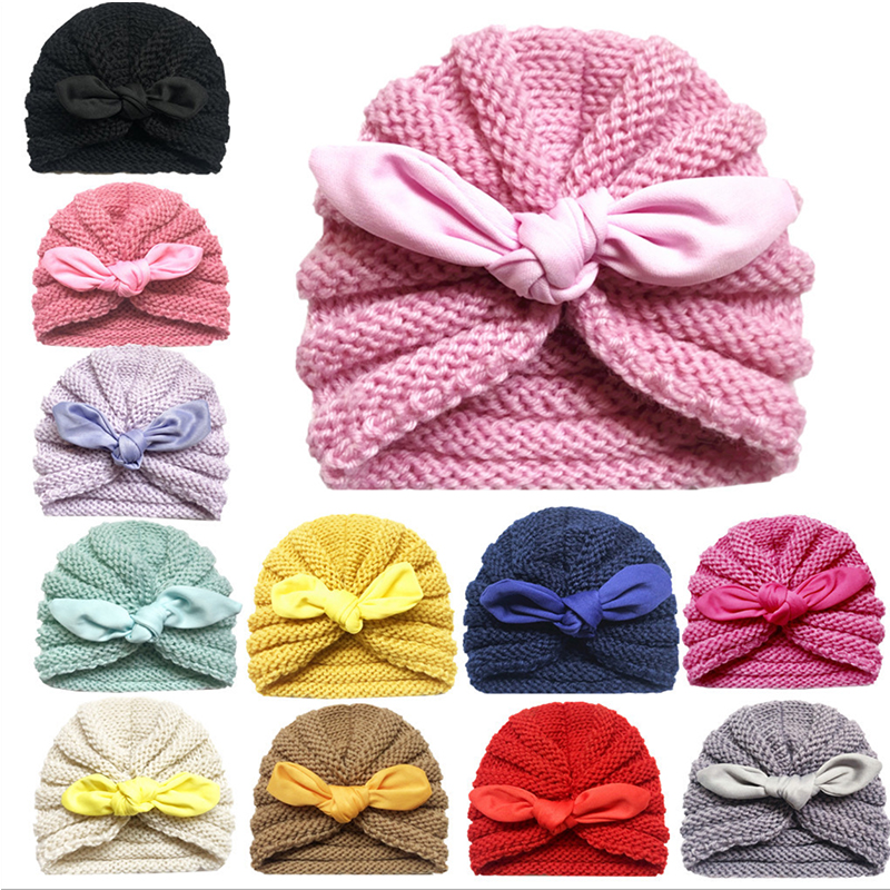 New Europe  America Autumn And Winter Knit Hat Children's Hat Rabbit Ears Wool Hat Warm Baby Hat Free Shipping