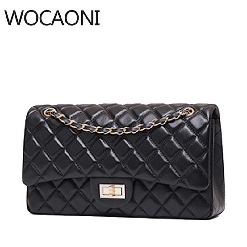 WOCAONI Luxury Genuine Leather Handbag Women Messenger Bags Famous Brands Women Crossbody Bag Candy Color Chain Shoulder Bags 2018 new fashion women shoulder bag plaid chain women messenger bags famous brand small crossbody purse for girl handbag luxury