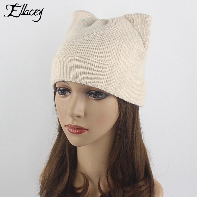 a9f48afa25ec7c Buy Ellacey 2017 Autumn Winter Cute Christmas Hats Cat Ears Outdoor Warm  Beanies Hat Women Kitten Thick Wool Xmas Knitted Cap - Store store at  AliExpress ...