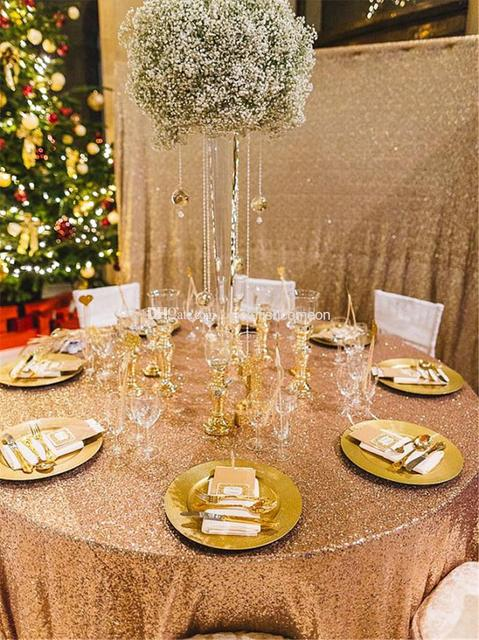120inch Gold Sequin Tablecloth Hot Glitter Table Cloth For Wedding Printed Stretch Cover