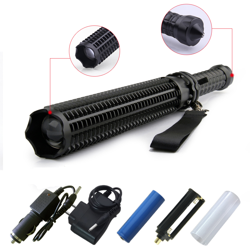 Adjustable self defense telescopic baton flashlight tactical T6 3800 lumens 18650 battery rechargeable LED Torch lanterna tatica