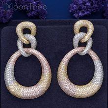 MoonTree 3 라운드 모양 매달려 전체 마이크로 큐빅 3 톤 컬러 구리 여성 웨딩 약혼 드레스 빅 귀걸이 Bijoux