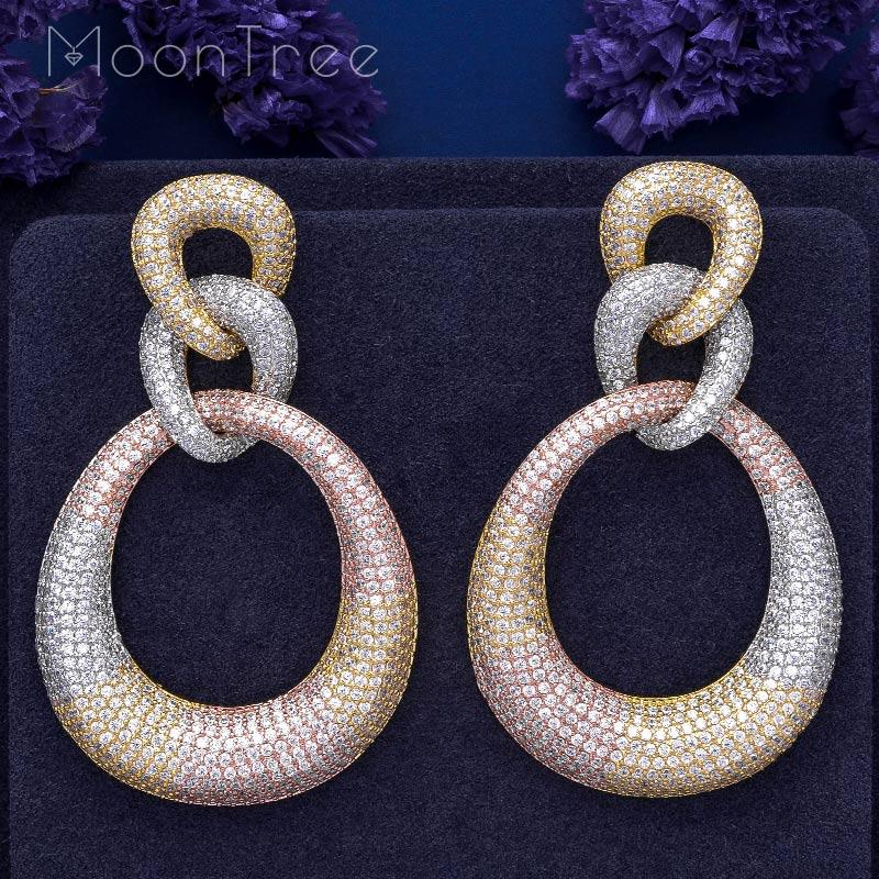 MoonTree Three Round Shape Dangle Full Micro Cubic 3Tone Color Copper Women Wedding Engagement Dress Big Earrings Bijoux