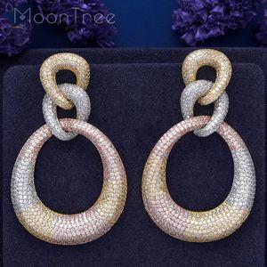 Image 1 - MoonTree Three Round Shape Dangle Full Micro Cubic 3Tone Color Copper Women Wedding Engagement Dress Big Earrings Bijoux