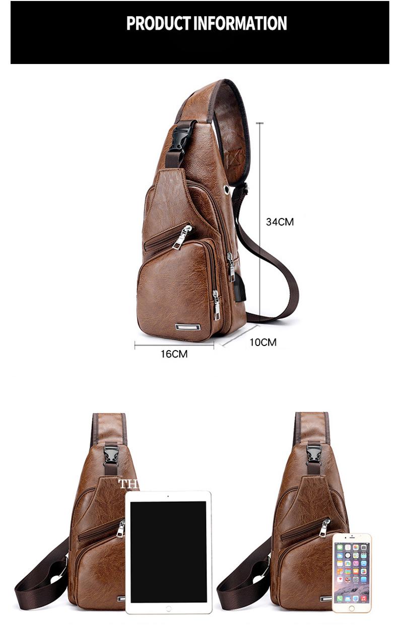 Men's Crossbody Bags Men's USB Chest Bag Designer Messenger bag Leather Shoulder Bags Diagonal Package 2019 new Back Pack Travel 4