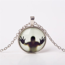 2016 Men Shadow Style Necklace Glass Cabochon Chain Statement Pendant Necklaces Glow In The Dark Nightlight choker