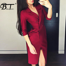 Beateen 2019 New Office Lady Notched Lapels Buttons Seven-Quarter Sleeve Blazer Sexy Sheath Elegant Knee-Length Midi Dress(China)