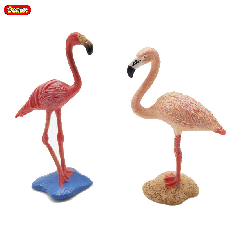 Oenux 2PCS Wild Pink Flamingos FMG Animal Model Solid PVC Action Figures Phoenicopterus Pink Feather Toy For Kids Birthday Gift 12pcs set children kids toys gift mini figures toys little pet animal cat dog lps action figures