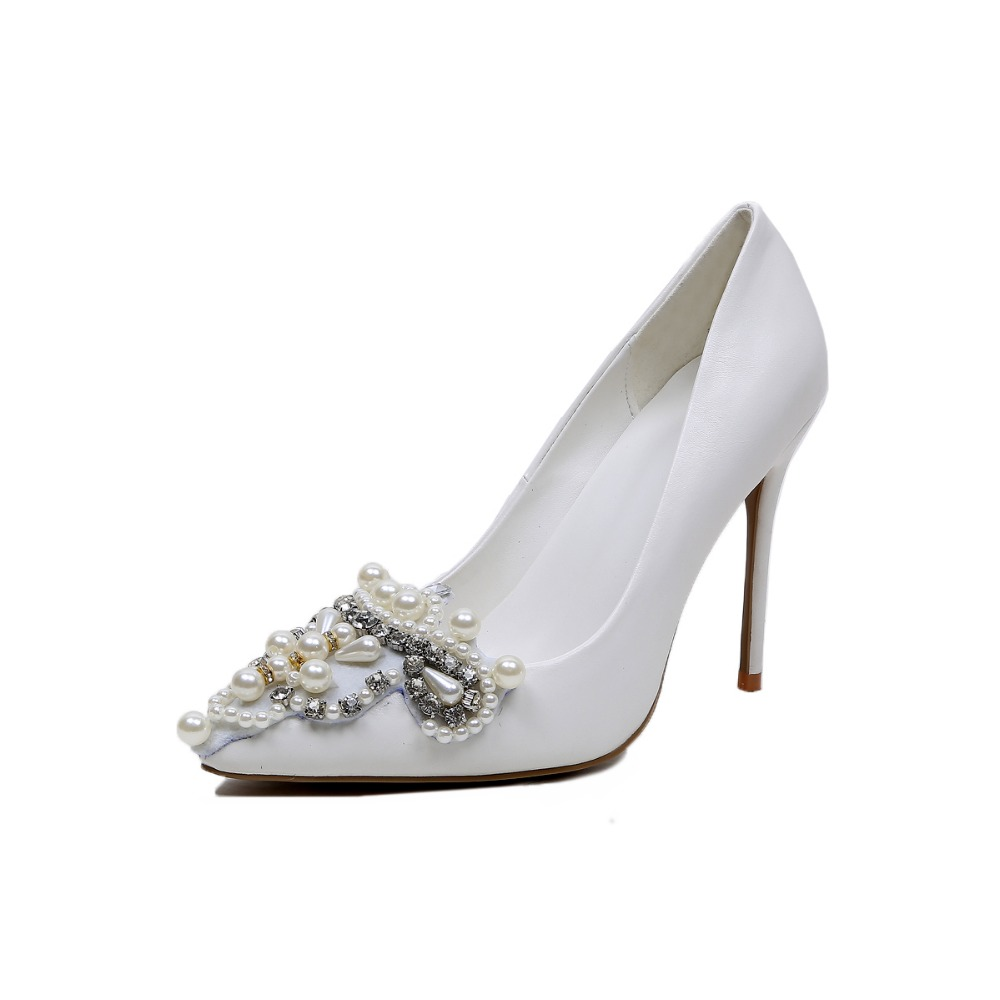 New Elegant Women Pumps 2017 Sexy Pointed Toe Thin Heels Wedding Pumps High-quality White Shoes Woman Plus Size 4-10.5 bowknot pointed toe women pumps flock leather woman thin high heels wedding shoes 2017 new fashion shoes plus size 41 42