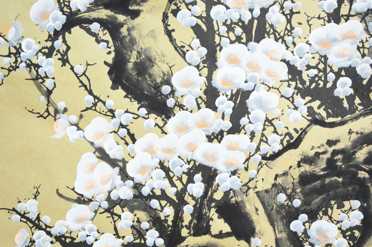 Large scroll painting by numbers vintage japanese white plum large scroll painting by numbers vintage japanese white plum flowers handpainted wall artwork gifts in painting calligraphy from home garden on mightylinksfo