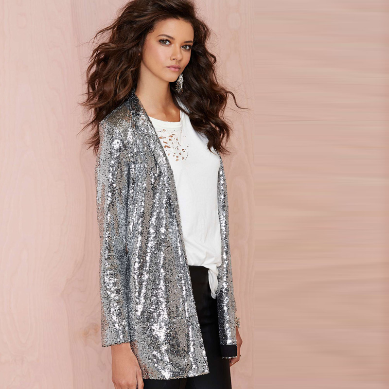 New side pocket shine sequined cardigan jacket commuter-in Basic ...