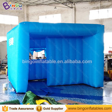 Free shipping blue color inflatable advertising cube tent customized house type 3X3X2 Meters blow up tent toy tent