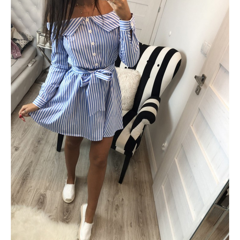 Lossky 2019 Casual Women Shirts Dress Elegant Buttons Off Shoulder Striped Dresses Sexy Sashes Bow Ties Summer Dress Vestidos