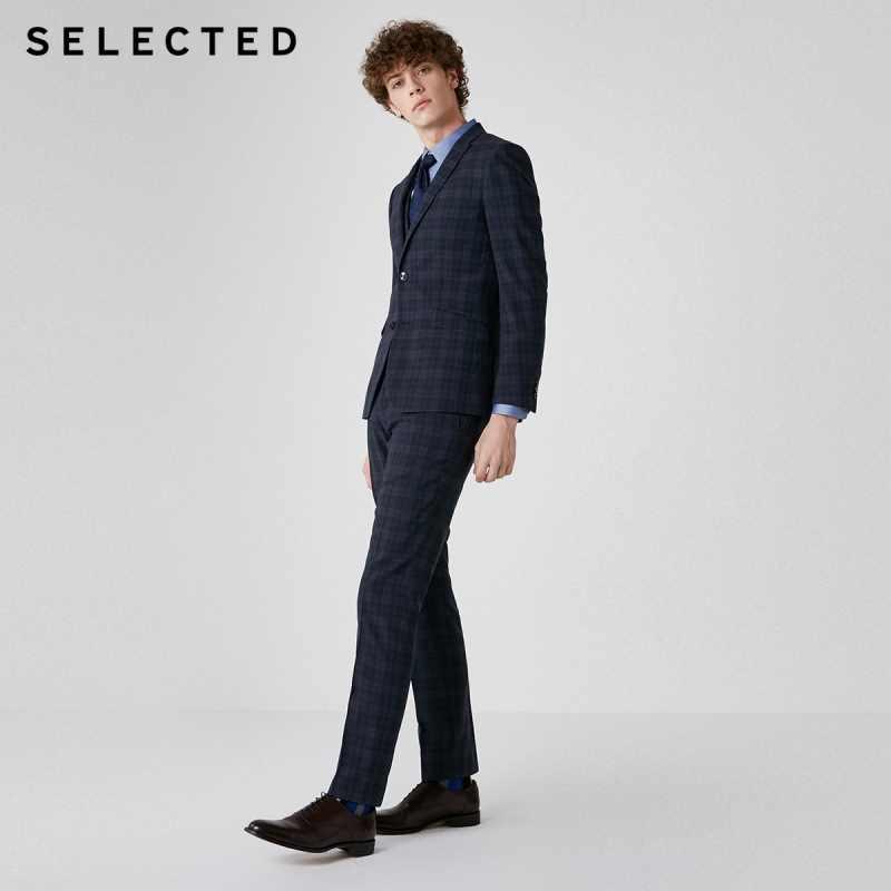 選択メンズダークチェックスリムフィットスーツ T | 41916A504